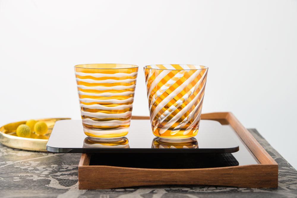 Rotter Kristallglas Dekor Bänder Nemo